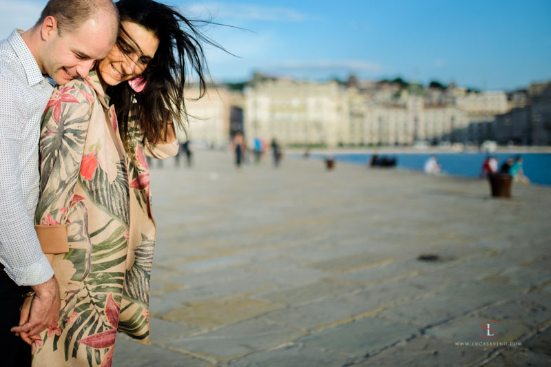engagement photo shooting on the seaside in Trieste Italy by Luca Savino
